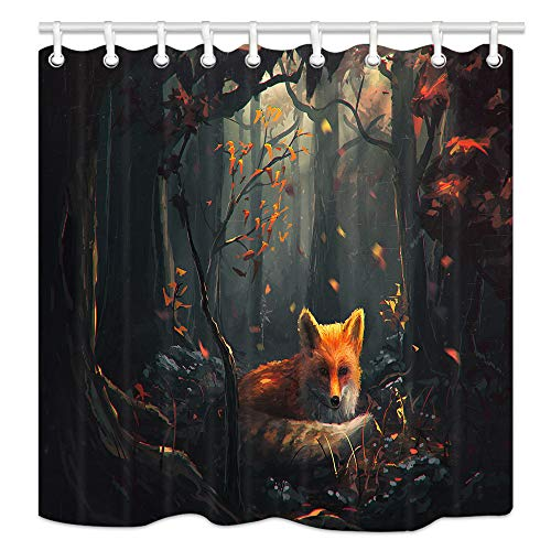 NYMB Painting Animal Lover Fox in The Forest Shower Curtain 69X70 inches Polyester Fabric Bathroom Fantastic Decorations Wild Safari Cartoon Animals Bath Curtains Hooks Included (Multi25)
