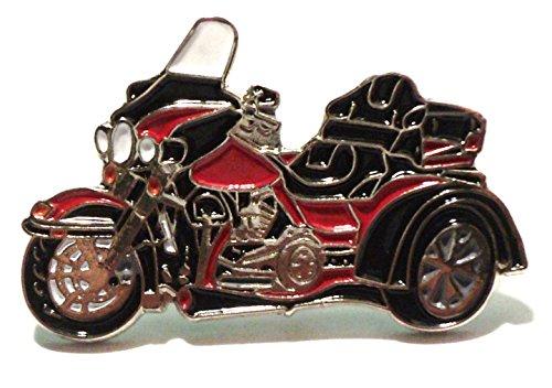 Rotes Dreirad 3 Räder Biker Motorrad Metall Badge