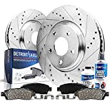 Detroit Axle - Front Drilled & Slotted Disc Rotors + Brake Pads Replacement for Dodge Ram 1500...