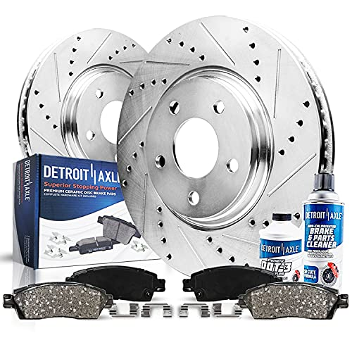 Detroit Axle - Pair (2) Front Drilled and Slotted Disc Brake Kit Rotors...
