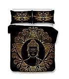 LanS Buddismo Sakyamuni meditare Serie Bedding – Copripiumino e Federa, Camera da Letto Tre Pezzi Lenzuola Bedding(Copripiumino + 2 federe), prevenire l' umidità, Anallergico, Single, Double Bed