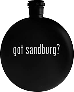got sandburg? - 5oz Round Alcohol Drinking Flask, Black