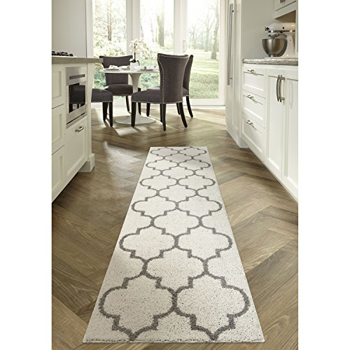 Runner Rug, Maples Rugs [Made in USA][Molly] 2'6 x 10' Non Slip Hallway Entry Area Rug for Living Room, Bedroom, and Kitchen - Cream