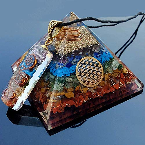 Real Crystal Orgone Chakra Pyramid - Seven Chakra...