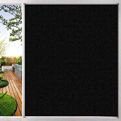 Schwarz Verdunkelungsfolien für Fenster, kein Kleber Anti-UV Sonnenschutz Selbstklebende Isolationsfolie Privacy Glass Geeignet für Wohnzimmer Schlafzimmer Badezimmer Büro,80X200cm