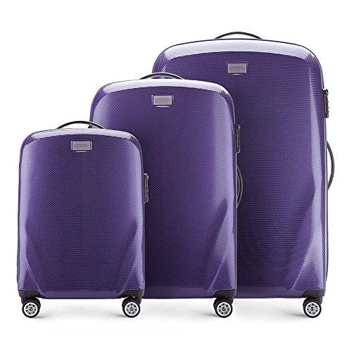 Stabiler Reisekoffer Koffer-Set Trolley von Wittchen Material polycarbonat 4 Lenkrollen Zahlenschloss 11KG Farbe Violett