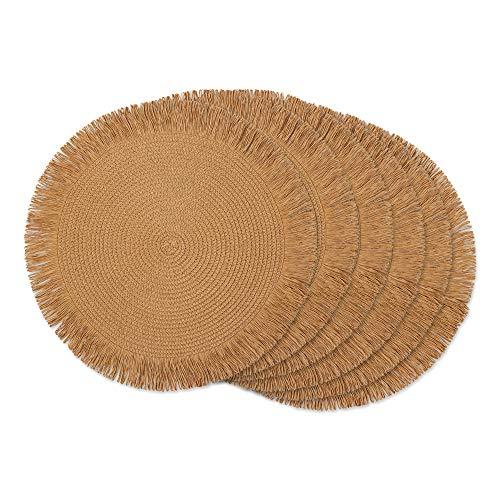 DII - Manteles Individuales Redondos Tejidos Naturales, 38,1 cm de diámetro, con Flecos, 6 Unidades