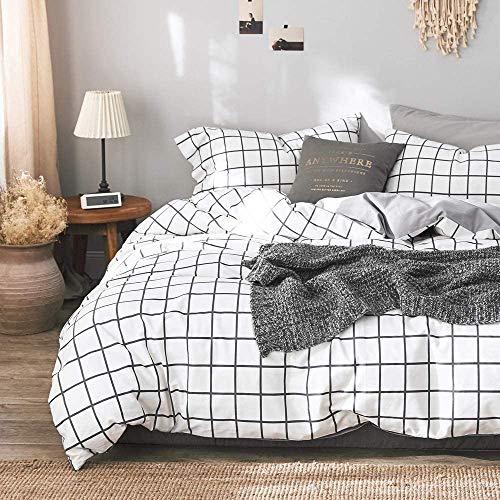 Michorinee - Juego de ropa de cama a cuadros (140 x 200 cm, microfibra, reversible), diseño de cuadros, color blanco y gris