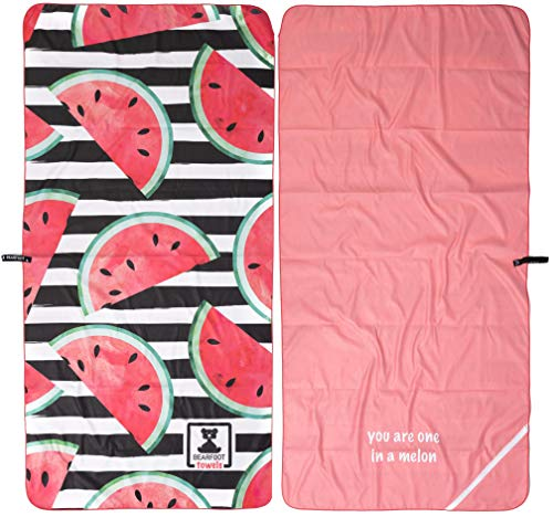 BEARFOOT Mikrofaser Handtuch mit Tasche | schnelltrocknende Handtücher - Microfaser Saunatuch, XXL Strandtuch, Badetuch groß, Reisehandtuch | Reise, Strand, Sauna (Wassermelone 160x80)