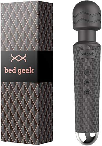 Masajeador de Varita con Nueva Característica de Memoria de bed geek Masaje Eléctrico de Mano Inalámbrico Varita de Silicona Suave 20 Patrones 8 Velocidades Negro