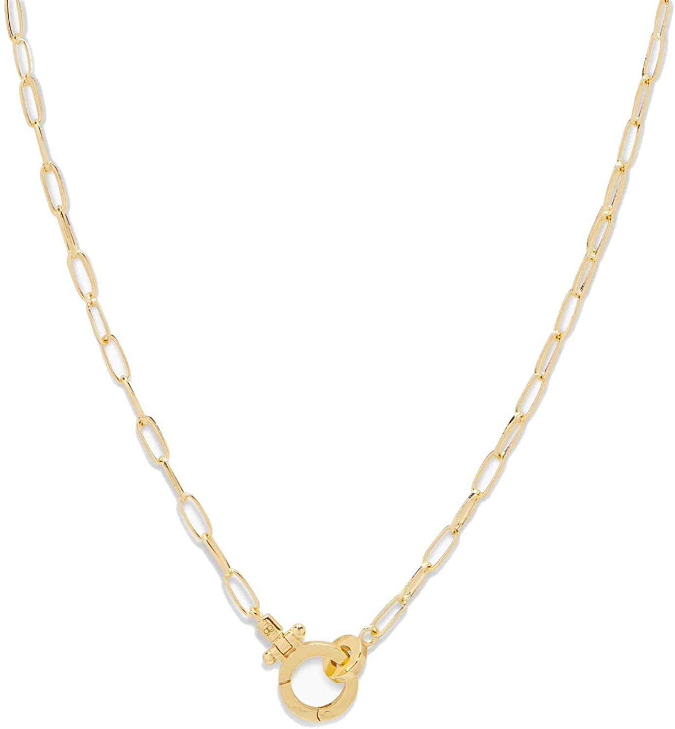 gorjana Women's Parker Mini Paperclip Link Chain Necklace, 18K Gold Plated, Chunky Clasp