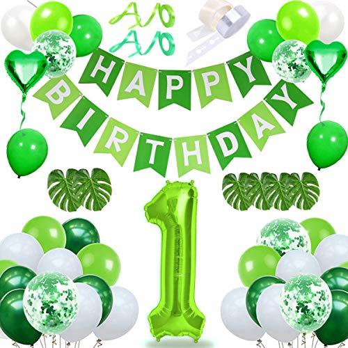 DANXIAN 1. Geburtstag Baby Dekoration, Deko Geburtstag, Grün Happy Birthday Girlande Konfetti Luftballons Folienballon für Party Dekorationen