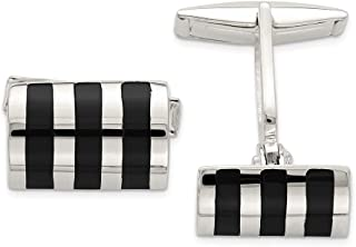 925 Sterling Silver Black Onyx Cufflinks Man Cuff Link Fine Jewelry For Dad Mens Gifts For Him