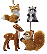 Plush Forest Animal Christmas Tree Ornaments (2 Sizes, 4 Pack)