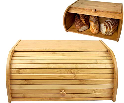 Breadbox Natural Bamboo Roll Top Bamboo Bread Box For Kitchen Countertop Bread Holder Bread Storage Food Storage Wood Bread Boxes Assembly Required