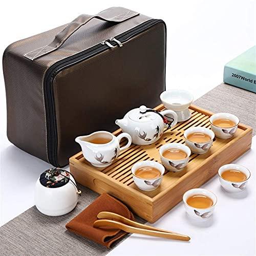 Tea Table Tea Set, Travel Kung Fu Tea Set Portable White Porcelain Jade Porcelain, High-End Tea Set,10-Piece Set (Color : D)