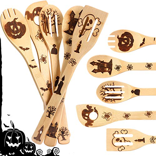 5 Pieces Halloween Cooking Utensils Burned Wooden Spoons Set Bamboo Cooking Spoons Utensils Wood Slotted Spoon Spatula for Halloween House Warming Wedding Home Kitchen Tableware