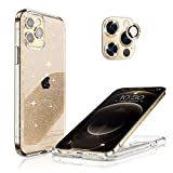 Hoerrye Compatible with iPhone 12 Pro Phone Case for Women,[3 x Camera Lens Protector][Anti Yellowing][Crystal Glitter Clear & Shockproof] Slim Thin Cover 6.1' Accessoriess - Glitter Gold Lens Cover