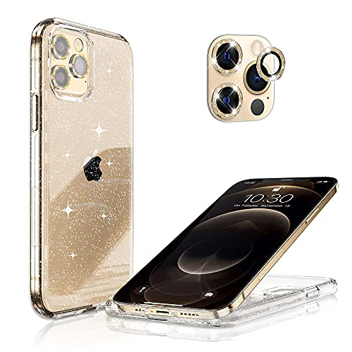 Hoerrye Compatible with iPhone 12 Pro Phone Case for Women,[3 x Camera Lens Protector][Anti Yellowing][Crystal Glitter Clear & Shockproof] Slim Thin Cover 6.1
