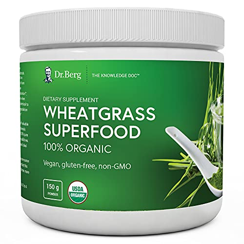 Dr. Berg's Wheatgrass Superfood Powder - Raw Juice Organic Ultra-Concentrated Rich in Vitamins & Nutrients - Chlorophyll & Trace Minerals - 60 Servings - Gluten-Free Non-GMO - 5.3 oz (1 Pack)