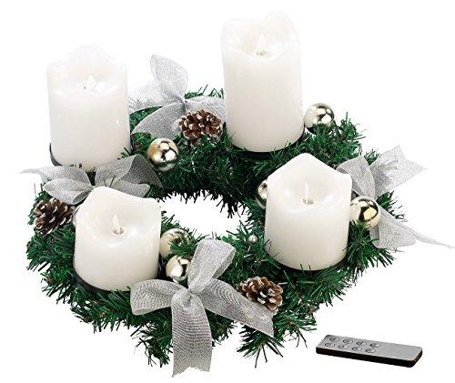 Britesta Fertiger Adventskranz: Adventskranz, silbern, 4 weiße LED-Kerzen mit bewegter Flamme (Weihnachtskranz mit LED-Kerzen)