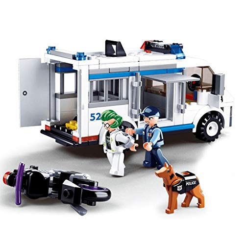 City Police Car, Bouwblok Speelgoed, Speciale Politie Auto, Motorfiets, 2 Personen, Politie Hond, Bouwpakket (117 stuk) Stapelen Speelgoed