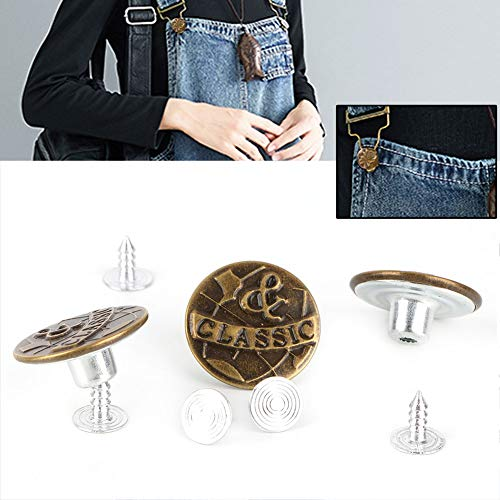 HEEPDD Jeans Knoppen, 10 Stks Populaire Delicate 20 mm Vintage Jean Sluiting met klinknagels voor Jeans Jas Kleding Broek Riemen Jas