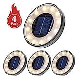 Luces Solares Led Exterior,Tomshine 4 Pack 12 LEDs Luces Solares para Jardín,IP68 Impermeable,Focos Solares LED para Exterior, Jardín, Terraza, Césped, Pasarela(Blanco Cálido)