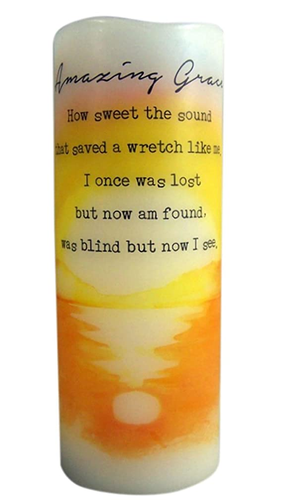 海嶺きらめく前置詞Amazing Grace Flamless Flicker Vanilla Scented Wax Candle with LED Light, 20cm