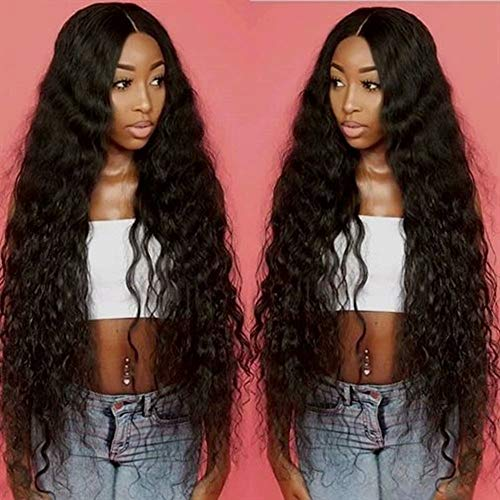 10A high quality 100% Unprocessed Remy Hair Extensions Human Hair Brazilian Water Wave Hair 150% Denisity Virgin Human Hair 4x4 Closure Wigs For Black Women Natural Color (16inch)