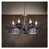 Accesorio de iluminación Luces de estilo industrial retro de araña de hierro, lámpara colgante creativa LED iluminación de iluminación decoración interior, para bar restaurante café dormitorio sala de