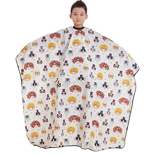 KAHOT Kids Haircut Barber Cape Child Professional Salon Hairdressing Smock Cover for Hair Cutting,Styling and Shampoo for Boys and Girls,Large Size Household Capes,57 x 47 inches (Animal Party)