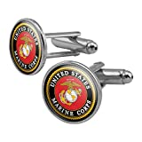 GRAPHICS & MORE Marines USMC Emblem Black Yellow Red Officially Licensed Round Cufflink Set Silver Color