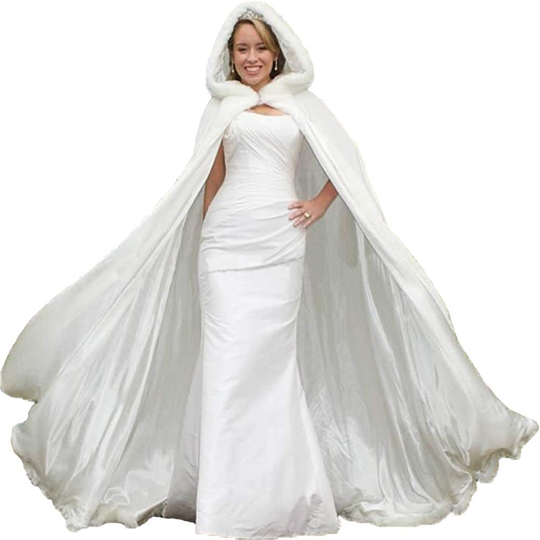 White Long Hooded Bridal Dress Faux Fur Cloak Bride Cape Wedding Cloak Winter