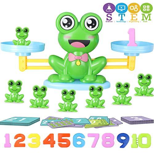 Hiveseen Montessori Mathe Waage Spielzeug, Lernspielzeugfür Zählen und Rechnen, STEM Spielzeug, 64Pcs Frosch Balance Math Spiel für Kinder ab 3+ Jahhre