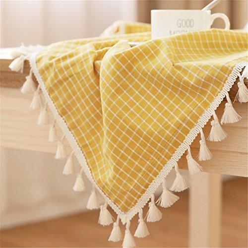 LUCKYHOUSEHOME - Mantel de rayas de colores de algodón y lino, rural, impermeable, pequeño, rectangular para mesa de café, poliéster, Cheque amarillo, 55 x 86 inches(140 x 220cm)