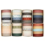 Knaid 40 Rolls of Slim Washi Tape Gift Box Set, Decorative Paper Tapes 10 mm Wide for Scrapbooking, DIY Arts and Crafts, Bullet Journal, Planner, Junk Journal, Notebooks (Minimalist)