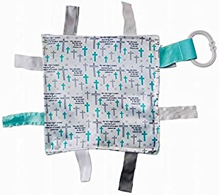"""Baby Sensory, Security & Teething Closed Ribbon Tag Lovey Blanket with Minky Dot Fabric: 8""""X8"""" (Prayer)"""