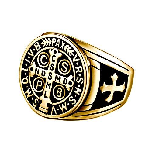 BOBIJOO JEWELRY - Anello Uomo in Croce San Benedetto Protezione Demone in Acciaio Placcato Oro Nero - 22 (10 US), d'oro - Acciaio Inossidabile 316