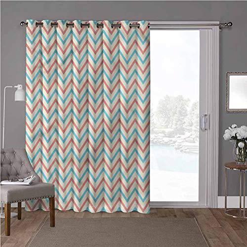 YUAZHOQI - Cortina divisora de habitación con aislamiento térmico, cortinas opacas geométricas, líneas en zigzag, ancho 52 x largo 84 pulgadas, protección de privacidad para sala de estar (1 panel)