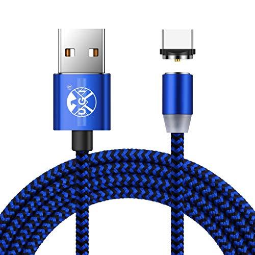 UGI 360-Grad-Runde USB Typ C Kabel Magnetic Charger Kabel mit LED-Licht Schnellladekabel Ladegerät für Samsung Galaxy S8 S9 Hinweis 8 S8 Plus LG V30 V20 G6 G5 Google Pixel Nexus 6P 5X