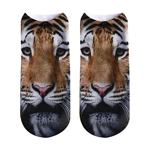 Unisex kurze Socken 3D Tiger Lion gedruckt Fußkettchen Socken Casual Socken Beliebte lustige Weihnachtssocke(B,20cm)