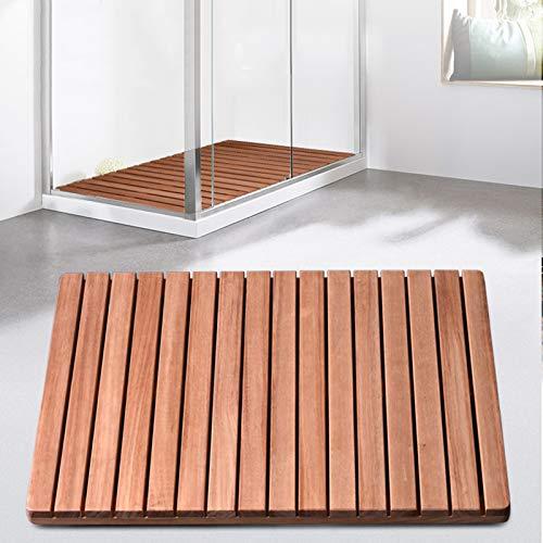 JIAJUAN Natürlich Badematte Holzmatte Holz Dusche Bad Matte, rutschfest Badezimmer Verdicken Wasseraufnahme Fußpolster, Größe Anpassbar (Color : A, Size : 60x70cm)