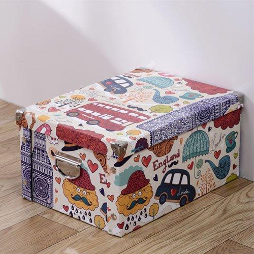 Caja de almacenamiento de papel plegada con cubierta para ropa, caja de almacenamiento de artículos diversos, caja de almacenamiento grande de cartón, 40 x 30 x 20 cm.
