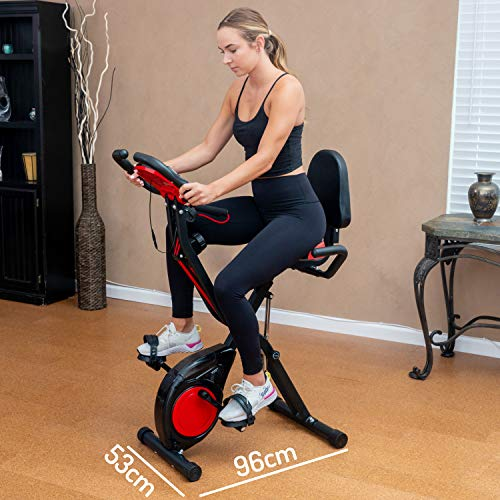 YYFITT 2-in-1 Foldable Fitness Exercise Bike with Resistance Bands, 16 Level Resistance and Phone/Tablet Holder