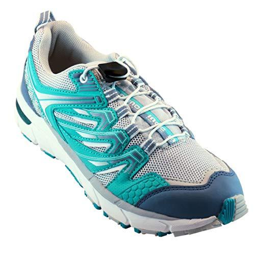 Damen | Frauen Running Fit for Run Freizeit Lauf-Schuh | Sportschuh | Fitness Schnürschuh + verstellbarem Schnürsenkel Verschluss ohne Schleife + Feststell-Mechanismus - weiß | türkis | blau - 37