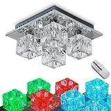 LED Deckenleuchte Lucca, dimmbare Deckenlampe aus Metall/Glas in Chrom, eckige Leuchte mit...