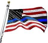 VSVO Blue Line American Flag 3x5 ft - Embroidered Stars Sewn Stripes Honoring Men Women Law Enforcement Officers Red Black White Blue Lives Matter USA Police Flag