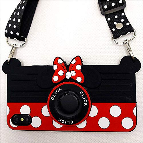 iPhone Xs Case Cute iPhone X Case Minnie Mouse 3D Carton Camera with Rotating Ring Grip Holder Kickstand Lanyard Teens Girls Women Kids Soft Silicone Rubber Phone Case Cover for iPhone X XS -5.8' (X)