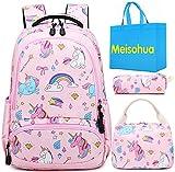 Mochila Unicornio Niños Impermeable Mochila Escolar para Adolescente Pequeñas Mochilas Infantil Bolso para Chicas para La Escuela,Viajes,Intemperie Juego de 3 - Rosa Bebé